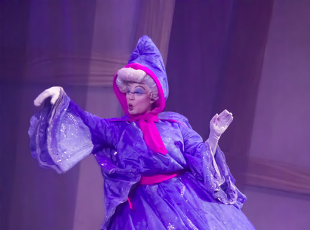 GREEN BAY, WI - FEBRUARY 10:  Fairy Godmother from Cinderella from Cinderella at the Disney Princesses show at the Resch Center on February 10, 2012 in Green Bay, Wisconsin. Publikacyjne