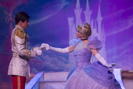 GREEN BAY, WI - FEBRUARY 10:  Cinderella in new dress with Prince from Cinderella at the Disney Princesses show at the Resch Center on February 10, 2012 in Green Bay, Wisconsin.