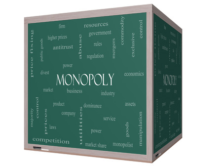 Monopoly  Word Cloud Concept on a 3D cube Blackboard with great terms such as business, industry, dominance and more. photo