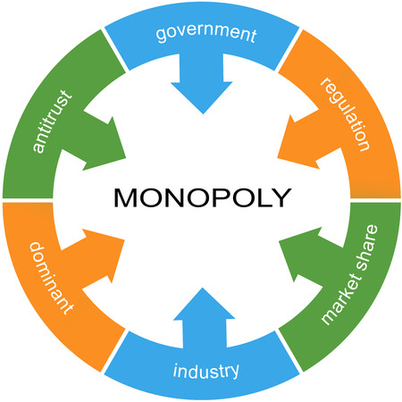 antitrust: Monopoly Word Circle Concept with great terms such as government, regulation, industry and more. Stock Photo