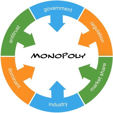 antitrust: Monopoly Word Circle Concept scribbled with great terms such as government, regulation, industry and more. Stock Photo