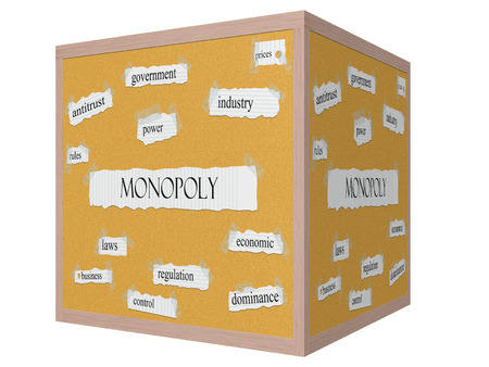 antitrust: Monopoly 3D cube Corkboard Word Concept with great terms such as antitrust, rules, power and more.