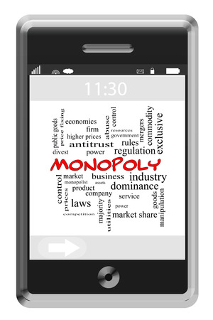 antitrust: Monopoly Word Cloud Concept on a Touchscreen Phone with great terms such as business, industry, dominant and more. Stock Photo