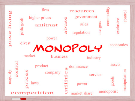 antitrust: Monopoly Word Cloud Concept on a Whiteboard with great terms such as business, industry, dominance and more.