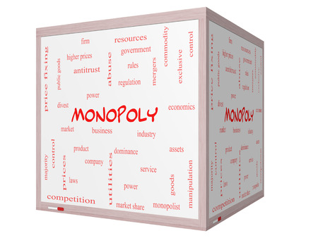 antitrust: Monopoly Word Cloud Concept on a 3D cube Whiteboard with great terms such as business, industry, dominance and more. Stock Photo