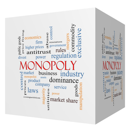 antitrust: Monopoly 3D cube Word Cloud Concept with great terms such as business, industry, dominance and more. Stock Photo