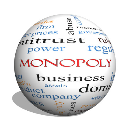 dominance: Monopoly 3D sphere Word Cloud Concept with great terms such as business, industry, dominance and more.