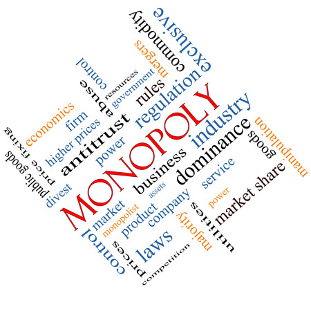 antitrust: Monopoly Word Cloud Concept angled with great terms such as business, industry, dominance and more.