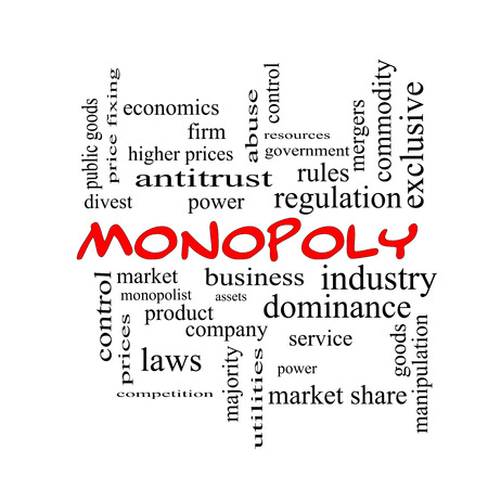 antitrust: Monopoly Word Cloud Concept in red caps with great terms such as business, industry, dominance and more.