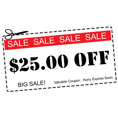 five dollars: A red, white and black Twenty Five Dollars Off Sale Coupon making a great concept.