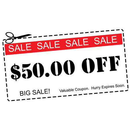 expires: A red, white and black Fifty Dollars Off Sale Coupon making a great concept.