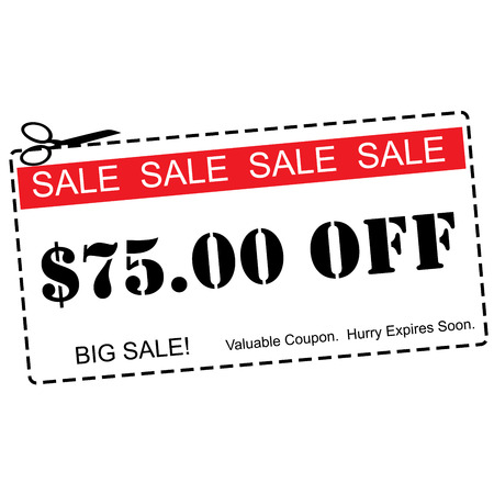 expires: A red, white and black Seventy Five Dollars Off Sale Coupon making a great concept.