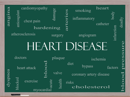 Heart Disease Word Cloud Concept on a Blackboard with great terms such as plaque, ischemia, factors and more. photo