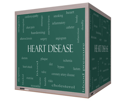 Heart Disease Word Cloud Concept on a 3D cube Blackboard with great terms such as plaque, ischemia, factors and more. photo