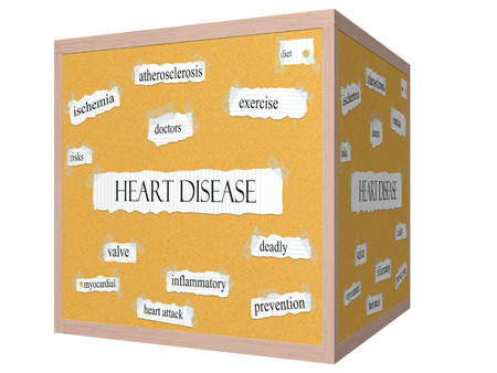 Heart Disease 3D cube Corkboard Word Concept with great terms such as prevention, exercise, risks and more.