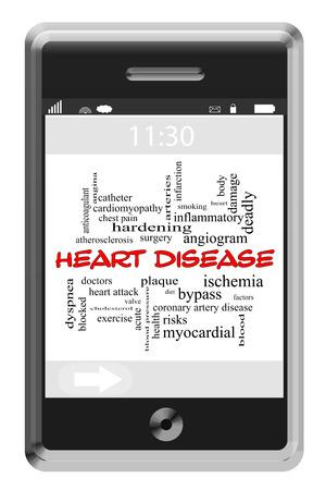 angina: Cardiopat�a Palabra Nube Concepto en un tel�fono de pantalla t�ctil con los t�rminos tales como ataque al coraz�n, la prevenci�n, la angina de pecho y m�s.