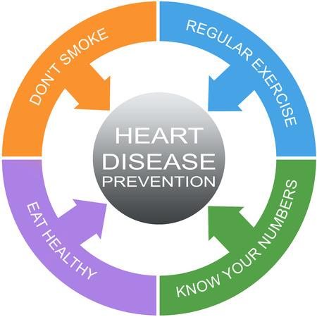 disease prevention: Enfermedades del Coraz�n Prevenci�n Palabra C�rculos Concepto con los t�rminos tales como hacer ejercicio, comer heatlhy y m�s.