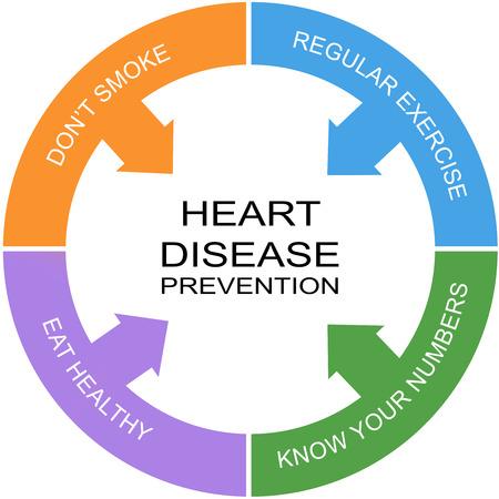 enfermedades del corazon: Enfermedades del Corazón Prevención Palabra Concepto Círculo con los términos tales como el ejercicio, comer heatlhy y más. Foto de archivo