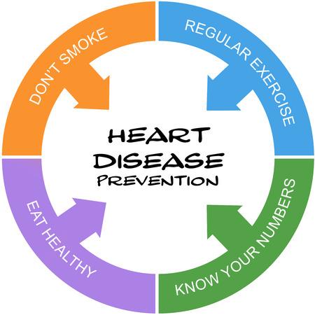 disease prevention: Prevenci�n de Enfermedad Cardiaca Palabra Concepto c�rculo garabateado con las condiciones tales como el ejercicio, comer heatlhy y m�s.
