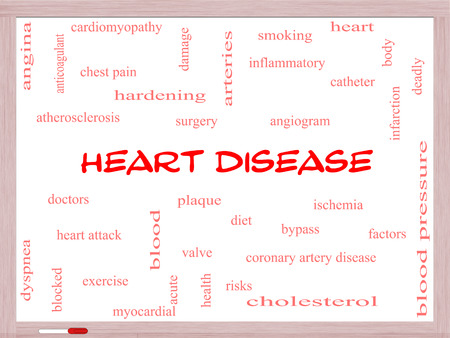 Heart Disease Word Cloud Concept on a Whiteboard with great terms such as plaque, ischemia, factors and more. photo