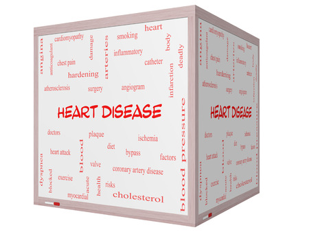 Heart Disease Word Cloud Concept on a 3D cube Whiteboard with great terms such as plaque, ischemia, factors and more.