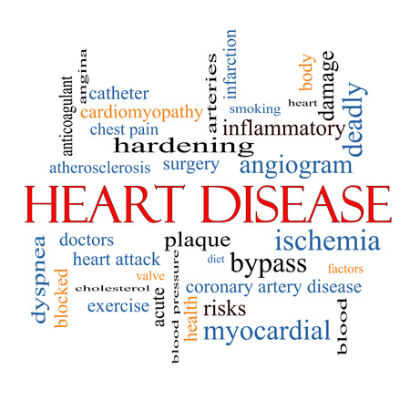dyspnea: Heart Disease Word Cloud Concept with great terms such as plaque, ischemia, factors and more. Stock Photo