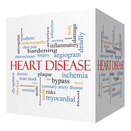 dyspnea: Heart Disease 3D cube Word Cloud Concept with great terms such as plaque, ischemia, factors and more.