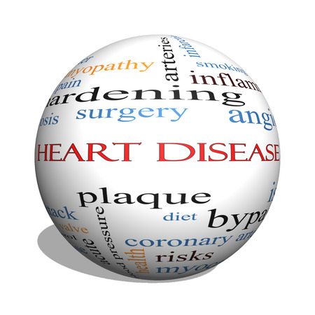 dyspnea: Heart Disease 3D sphere Word Cloud Concept with great terms such as plaque, ischemia, factors and more.