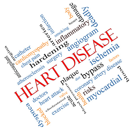 factors: Heart Disease Word Cloud Concept angled with great terms such as plaque, ischemia, factors and more. Stock Photo