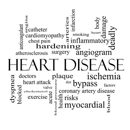 Heart Disease Word Cloud Concept in black and white with great terms such as plaque, ischemia, factors and more.