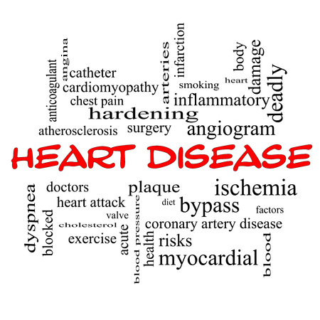 Heart Disease Word Cloud Concept in red caps with great terms such as plaque, ischemia, factors and more. photo