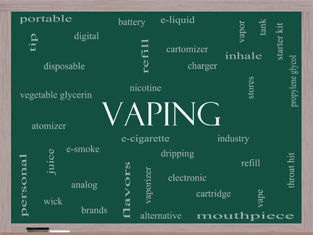 propylene: Vaping Word Cloud Concept on a Blackboard with great terms such as e-cigarette, nicotine, atomizer and more. Stock Photo