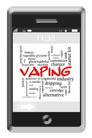propylene: Vaping Word Cloud Concept on a Touchscreen Phone with great terms such as vapor, smoking, liquid and more.
