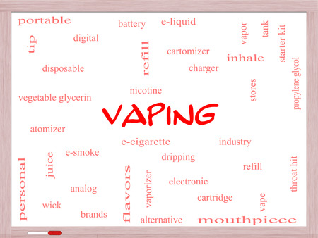 propylene: Vaping Word Cloud Concept on a Whiteboard with great terms such as e-cigarette, nicotine, atomizer and more.