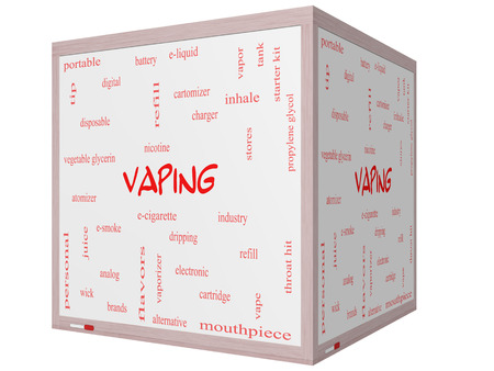 propylene: Vaping Word Cloud Concept on a 3D cube Whiteboard with great terms such as e-cigarette, nicotine, atomizer and more.