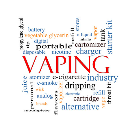 Vaping Word Cloud Concept with great terms such as e-cigarette, nicotine, atomizer and more.