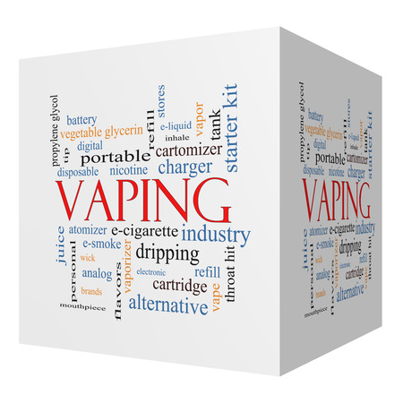 propylene: Vaping 3D cube Word Cloud Concept with great terms such as e-cigarette, nicotine, atomizer and more. Stock Photo