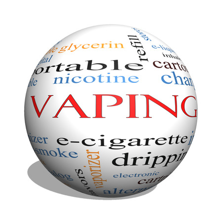 propylene: Vaping 3D sphere Word Cloud Concept with great terms such as e-cigarette, nicotine, atomizer and more.