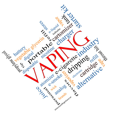 starter: Vaping Word Cloud Concept angled with great terms such as e-cigarette, nicotine, atomizer and more.