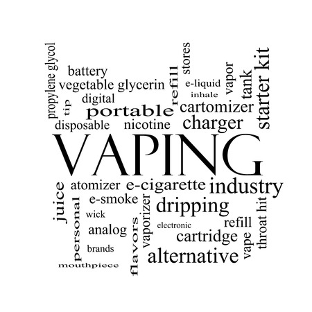 Vaping Word Cloud Concept in black and white with great terms such as e-cigarette, nicotine, atomizer and more. photo
