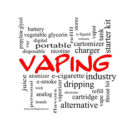 Vaping Word Cloud Concept in red caps with great terms such as e-cigarette, nicotine, atomizer and more. photo