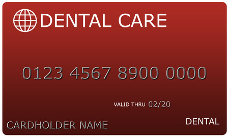 An imitation Red Dental Care Card complete with numbers, valid thru date, and cardholder name.