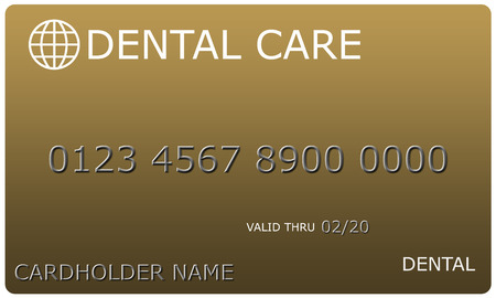 An imitation Gold Dental Care Card complete with numbers, valid thru date, and cardholder name.