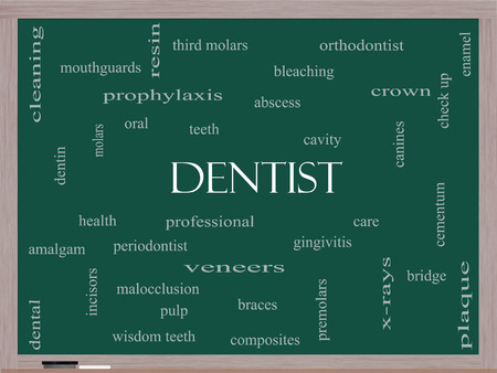 Dentist Word Cloud Concept on a Blackboard with great terms such as cavity, care, teeth and more.