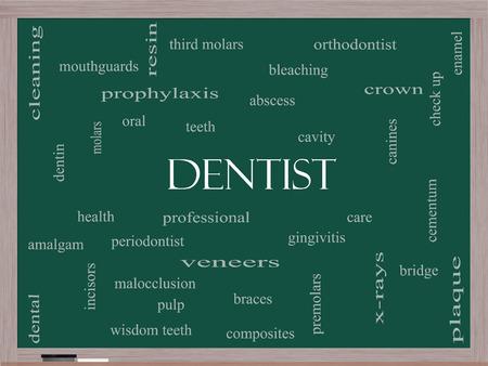 molares: Dentista Palabra Nube Concepto en una pizarra con los términos de la talla de la cavidad, la atención, los dientes y más.