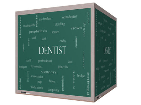 cementum: Dentist Word Cloud Concept on a 3D cube Blackboard with great terms such as cavity, care, teeth and more.