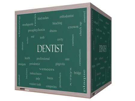 molares: Dentista Palabra Nube Concepto en una pizarra cubo 3D con términos de la talla de la cavidad, la atención, los dientes y más.