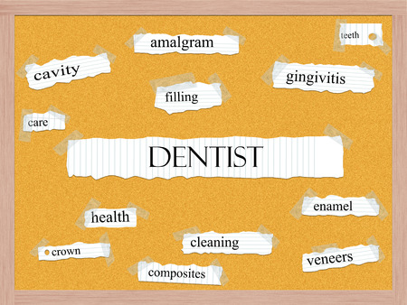Dentist Corkboard Word Concept with great terms such as amalgram, filling, cavity and more. Stock Photo