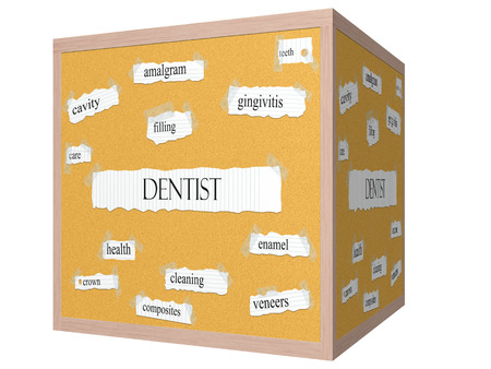 Dentist 3D cube Corkboard Word Concept with great terms such as amalgram, filling, cavity and more.