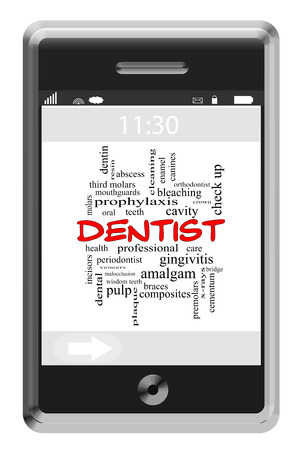 cementum: Dentist Word Cloud Concept on a Touchscreen Phone with great terms such as cavity, health, care and more. Stock Photo